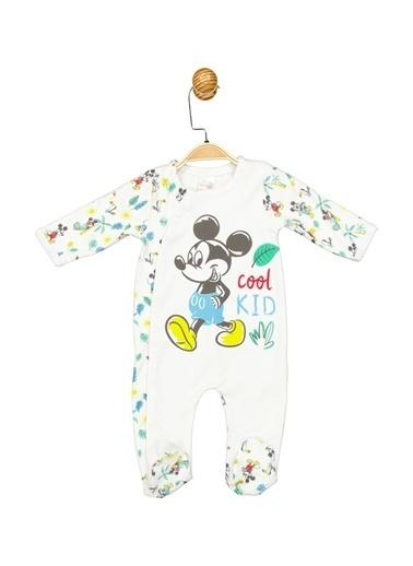 Mickey Mouse  Lisanslı Bebek Patikli Tulum 17249 Beyaz